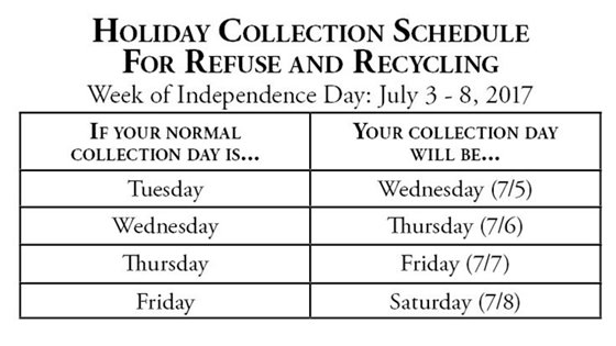 Trash Pick up Schedule